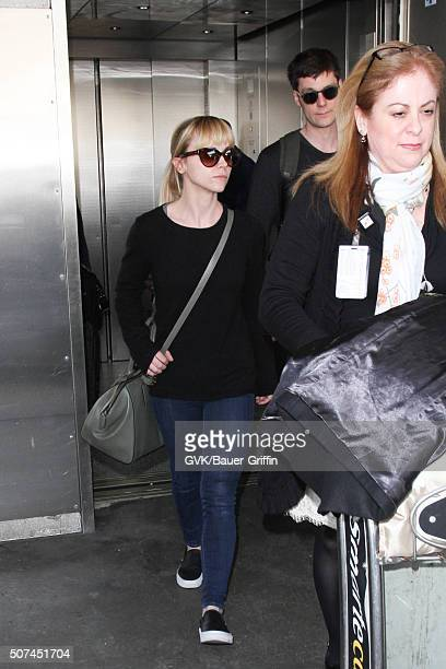 Christina Ricci and James Heerdegen are seen at LAX on January 29 2016 in Los Angeles California