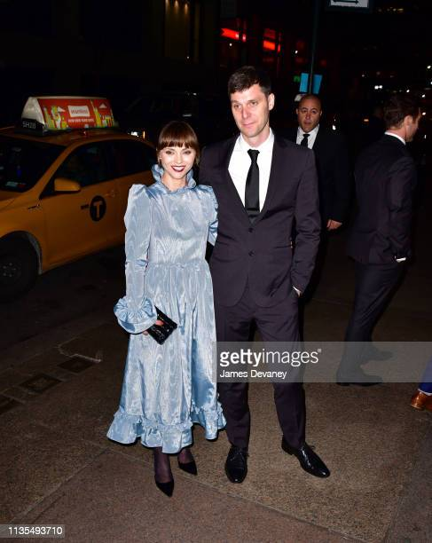Christina Ricci and James Heerdegen arrive to the wedding reception for Char Defrancesco and Marc Jacobs at The Grill and The Pool on April 6 2019 in...
