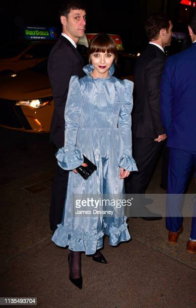 Christina Ricci arrives to the wedding reception for Char Defrancesco and Marc Jacobs at The Grill and The Pool on April 6, 2019 in New York City.
