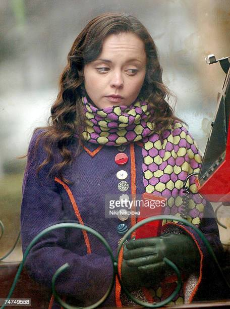 Christina Ricci at the Christina Ricci on Location in London for the Film 'Penelope' January 25 2006 at Primrose Hill in London