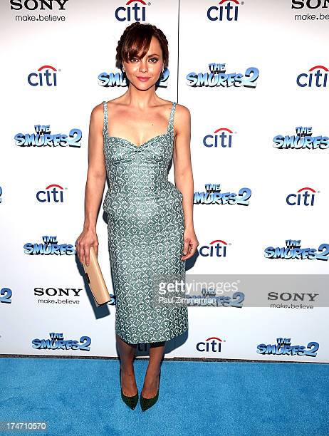 Christina Ricci attends The Smurfs 2 New York Blue Carpet Screening at Lighthouse International Theater on July 28 2013 in New York City