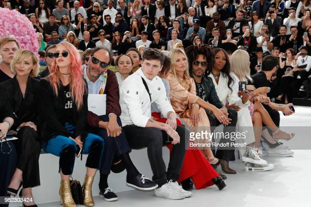 Christina Ricci guest Luca Guadagnino Brooklyn Beckham his mother Victoria Beckham Kate Moss Lenny Kravitz and Naomi Campbell attend the Dior Homme...
