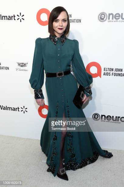 Christina Ricci walks the red carpet at the Elton John AIDS Foundation Academy Awards Viewing Party on February 09, 2020 in Los Angeles, California.