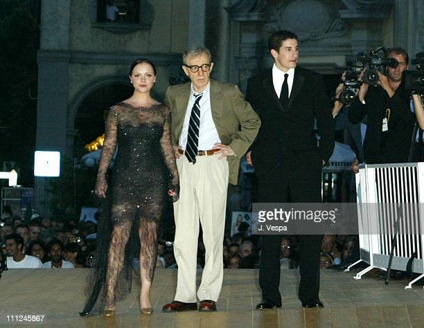 """Christina Ricci, Woody Allen and Jason Biggs during 2003 Venice Film Festival - Opening Night - """"Anything Else"""" Premiere at Sala Grande in Venice..."""