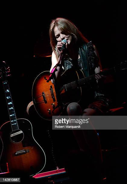 Christina Rosenvinge performs an acoustic set on stage at the Luz de Gas theater on April 12 2012 in Barcelona Spain