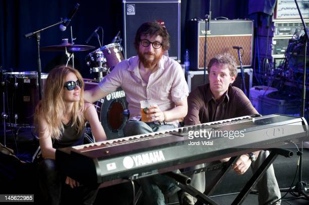 Christina Rosenvinge Raul Fernandez Refree and Chris Brokaw pose before an unplugged show during Primavera Sound Festival at Parc Del Forum on June 2...