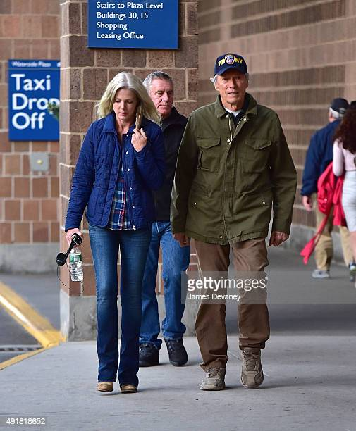 Christina Sandera and Clint Eastwood on the set of 'Sully' on October 7, 2015 in New York City.