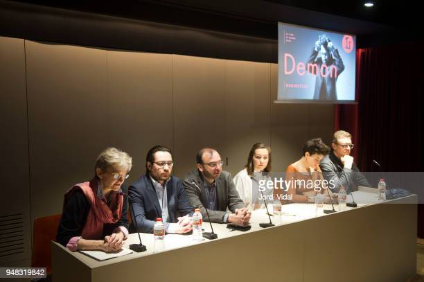 Christina Scheppelmann Mikhail Tatarnikov Dmitry Bertman Asmik Grigorian and Egils Silins attend the press conference for Russian Opera 'Demon' at...