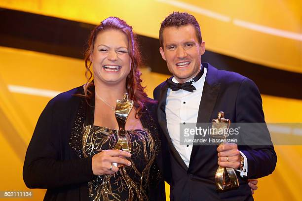 Christina Schwanitz and Jan Frodeno are awarded as Athlete of the Year 2015 during the Sportler des Jahres 2015 gala at Kurhaus Baden-Baden on...