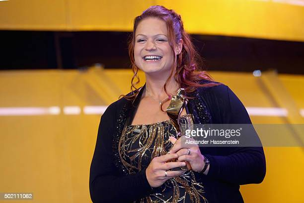 Christina Schwanitz is awarded as Athlete of the Year 2015 during the Sportler des Jahres 2015 gala at Kurhaus Baden-Baden on December 20, 2015 in...