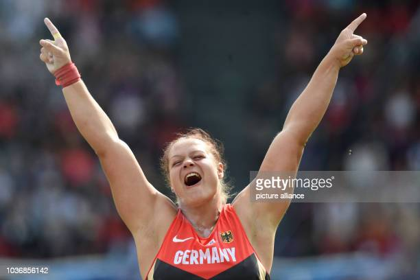 Christina Schwanitz of Germany celebrates after winning the women's shot put final at the European Athletics Championships 2014 at the Letzigrund...