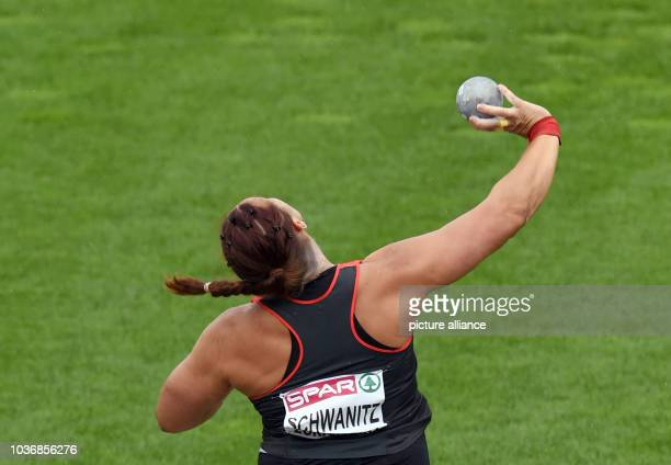 Christina Schwanitz of Germany competes in Shot Put Women Qualification at the European Athletics Championships 2014 at the Letzigrund stadium in...