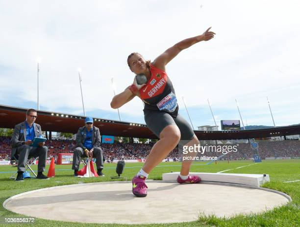 Christina Schwanitz of Germany competes in the women's Shot Put final at the European Athletics Championships 2014 in the Letzigrund stadium in...