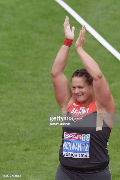 Christina Schwanitz of Germany reacts in Shot Put Women Qualification at the European Athletics Championships 2014 at the Letzigrund stadium in...