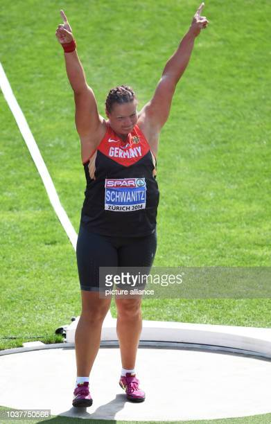 Christina Schwanitz of Germany reacts in the women's shot put final at the European Athletics Championships 2014 at the Letzigrund stadium in Zurich,...