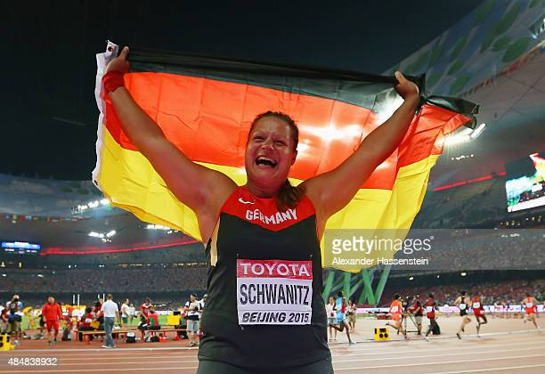Christina Schwanitz of Germany wins gold in the Women's Shot Put final during day one of the 15th IAAF World Athletics Championships Beijing 2015 at...
