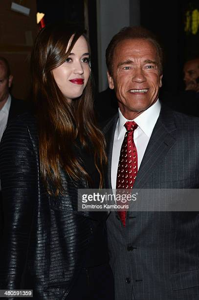 Christina Schwarzenegger and actor Arnold Schwarzenegger attend The Cinema Society with Muscle Fitness screening of Open Road Films' Sabotage at AMC...