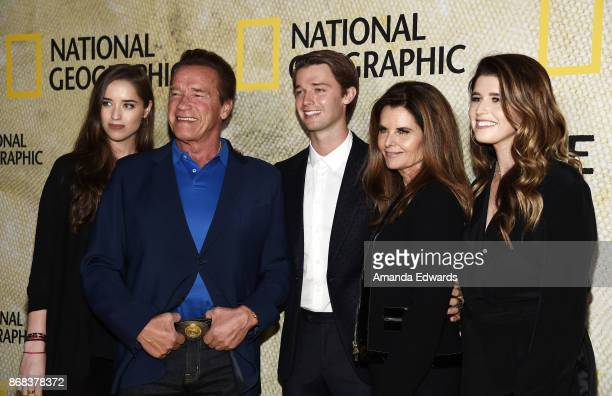 Christina Schwarzenegger, Arnold Schwarzenegger, Patrick Schwarzenegger, Maria Shriver and Katherine Schwarzenegger arrive at the premiere of...