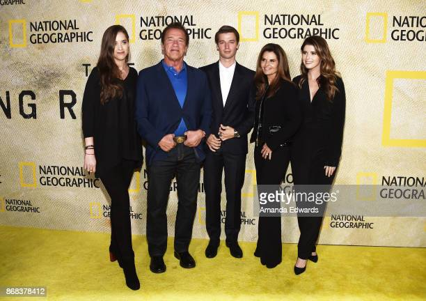 Christina Schwarzenegger Arnold Schwarzenegger Patrick Schwarzenegger Maria Shriver and Katherine Schwarzenegger arrive at the premiere of National...