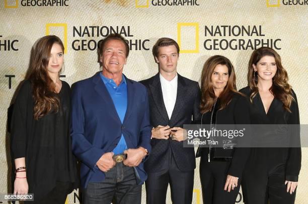 Christina Schwarzenegger, Arnold Schwarzenegger, Patrick Schwarzenegger, Maria Shriver and Katherine Schwarzenegger arrive at the Los Angeles...