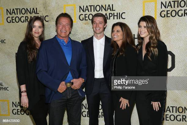 Christina Schwarzenegger, Arnold Schwarzenegger, Patrick Schwarzenegger, Maria Shriver and Katherine Schwarzenegger attend the premiere of National...