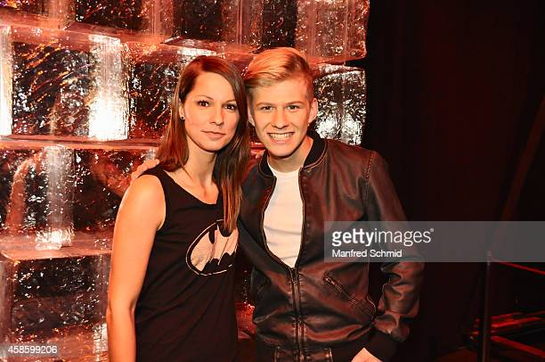 Christina Stuermer and Thorsteinn Einarsson pose for a photograph during the 'Die Grosse Chance' TV-Show final after party at ORF Zentrum on November...