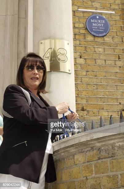 Christina the widow of record producer Mickie Most who died in May 2003 unveils a Heritage Foundation Blue Plaque in his honour at RAK recording...
