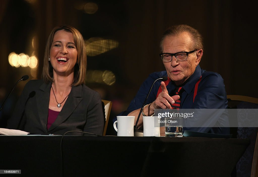 Christina Tobin and former CNN talk-show host Larry King host a debate presented by the Free and Equal Elections Foundation on October 23, 2012 in Chicago, Illinois. The 90-minute debate held at the Chicago Hilton hotel featured presidential candidates Jill Stein from the Green Party, Rocky Anderson from the Justice Party, Virgil Goode from the Constitution Party and Gary Johnson from the Libertarian Party.