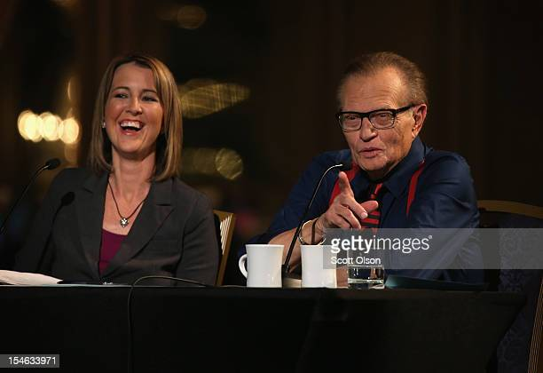 Christina Tobin and former CNN talkshow host Larry King host a debate presented by the Free and Equal Elections Foundation on October 23 2012 in...