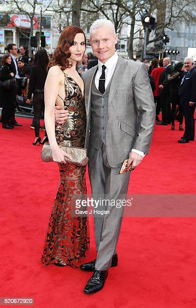 Christina V and Rhydian Roberts arrive for the UK film premiere of Florence Foster Jenkins at Odeon Leicester Square on April 12 2016 in London...