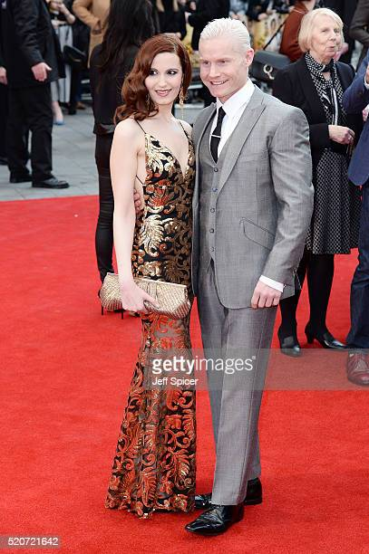 """Christina V and Rhydian Roberts arrive for the UK film premiere Of """"Florence Foster Jenkins"""" at Odeon Leicester Square on April 12, 2016 in London,..."""