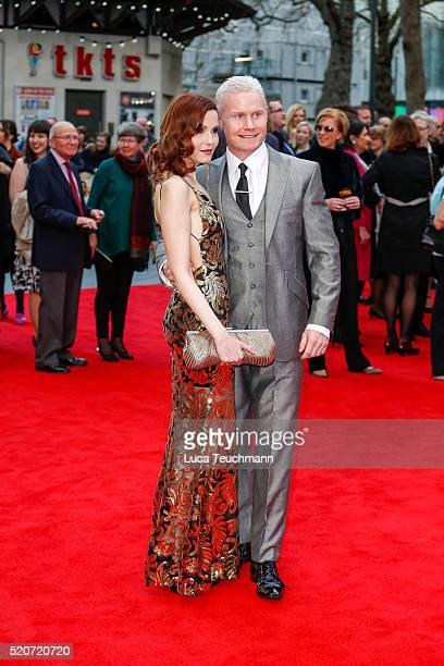 """Christina V and Rhydian Roberts arrives for the UK film premiere Of """"Florence Foster Jenkins"""" at Odeon Leicester Square on April 12, 2016 in London,..."""