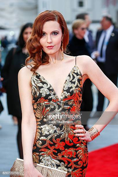 """Christina V arrives for the UK film premiere Of """"Florence Foster Jenkins"""" at Odeon Leicester Square on April 12, 2016 in London, England."""