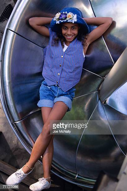 "Christina Vidal poses on a playground n June 1993 in New York City. Vidal played ""Angie Vega"" in the 1993 Michael J. Fox movie 'Life With Mikey'. A..."