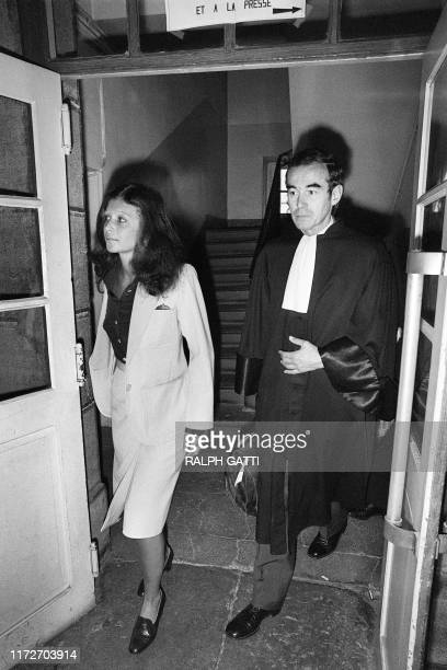 Christina von Opel arrives with her lawyer Robert Badinter on October 3 in the court of Draguignan during his trial for drug trafficking AFP / RALPH...