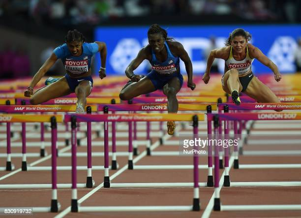 ChristinaManning of USA PamelaDutkiewicz of Germany DawnHarper Nelson of USA compete in the 100 meter hurdles final in London at the 2017 IAAF...