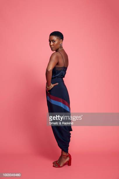 Christine Adams from CW's 'Black Lightning' poses for a portrait at the Getty Images Portrait Studio powered by Pizza Hut at San Diego 2018 Comic Con...