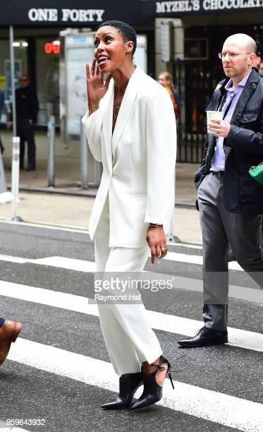 Christine Adams is seen walking in midtown on May 17 2018 in New York City