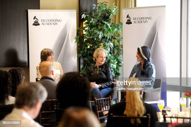 Christine Albert Ruby Marchand and Teresa LaBarbera participate in a panel discussion during the Recording Academy's Next Generation Panel at the...
