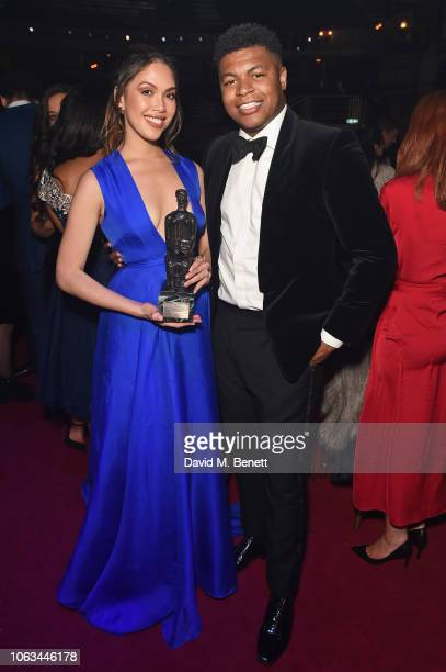 Christine Allado and Tarinn Callender attend The 64th Evening Standard Theatre Awards after party at the Theatre Royal Drury Lane on November 18 2018...