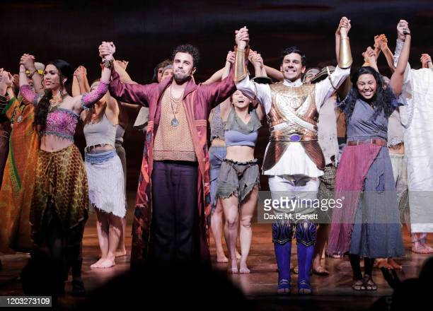 """Christine Allado, Luke Brady, Liam Tamne and Alexia Khadime bow at the curtain call during the gala night performance of """"The Prince of Egypt"""" at the..."""
