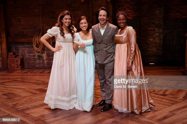"Christine Allado, Rachelle AnnGo, Lin-Manuel Miranda and Rachel John during the curtain call of the press night performance of ""Hamilton"" at The..."