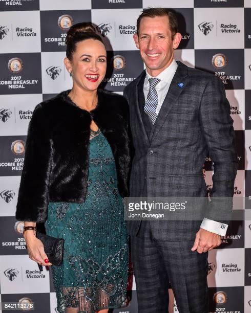 Christine and Hugh Bowman arrive for the Scobie Breasley Medal presentation at Peninsula on September 03, 2017 in Docklands , Australia.