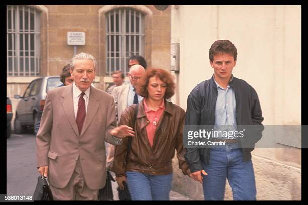 Christine and JeanMarie Villemin and their lawyer HenriRené Garaud hearing with Judge Maurice Simon