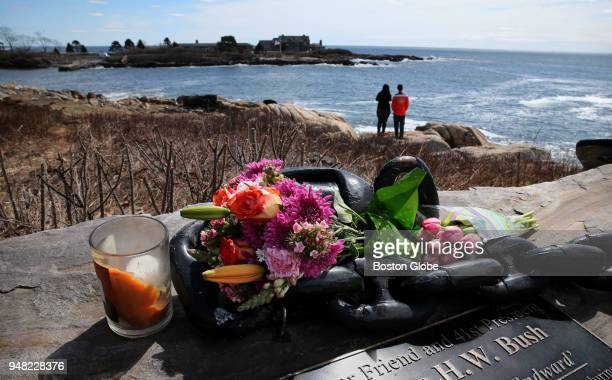Christine and Rich Benjes take in the view of the Bush family home at Walker's Point in Kennebunkport ME on April 18 2018 The couple from Olathe KS...