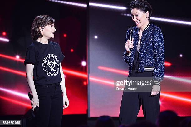 ARTIST Christine and the Queens and Emma Willis speak at the BRITS nominations launch at ITV Studios on January 14 2017 in London England