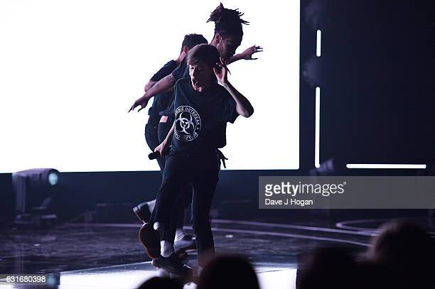 ARTIST Christine and the Queens perform at the BRITS nominations launch at ITV Studios on January 14 2017 in London England