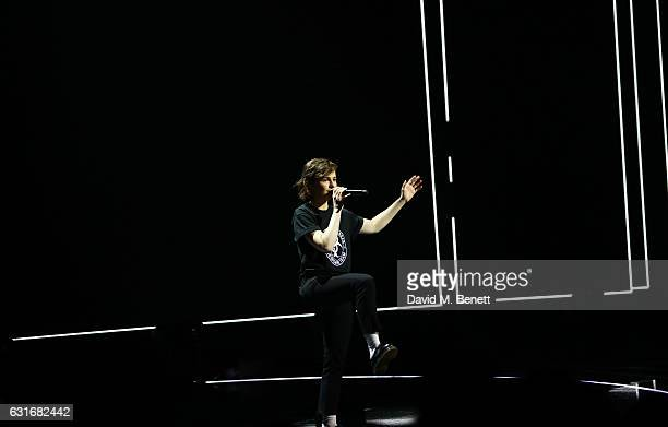 ARTIST Christine and the Queens performs at The BRIT Awards with Mastercard 2017 nominations show at ITV Studios on January 14 2017 in London England