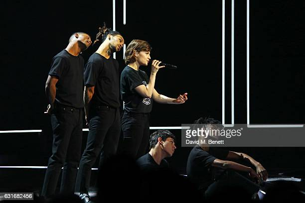 Christine and the Queens performs at The BRIT Awards with Mastercard 2017 nominations show at ITV Studios on January 14 2017 in London England