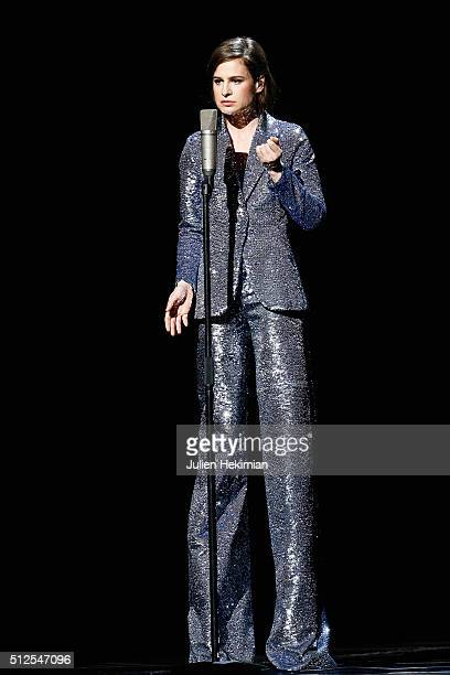 Christine and the queens sings on stage during The Cesar Film Award 2016 at Theatre du Chatelet on February 26 2016 in Paris France
